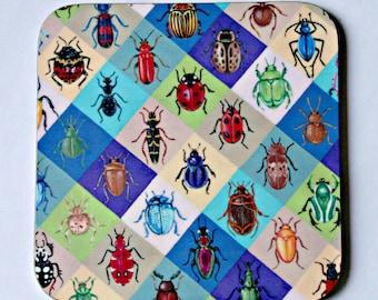 Beetle Harlequin Coaster - single