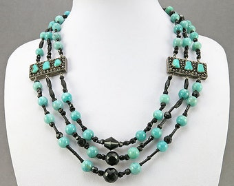Vintage Multistrand Necklace With Silver Clasp Silver Panels Turquoise Beads Green Stone Black Glass Beaded Necklace Vintage Collectibles
