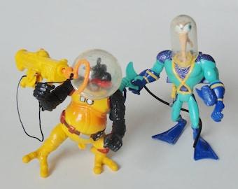 1 Earthworm Jim & Psy-Crow Action Figure SET, 90s Plastic Retro Cartoon Toy, EWJ Deep Sea Mission Suit. Vintage Kids Toys, Geekery Nerd Gift