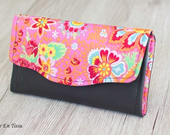 Women's wallet, woman wallet, wallet leather wallet, fabric card, companion, bellows, gift idea for woman