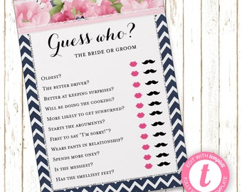 Navy and Pink Guess Who? Game | Bridal Shower Games | Printable Editable Digital File | Instant Download | Templett | WSI216Guess
