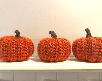 Crochet Pumpkin, Rustic Autumn Decor, Stuffed Pumpkin