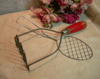 Red Wood Handle Potato Masher and Slotted Fry Spatula