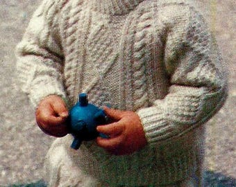 Cable Sweater and Pants Set for Toddler Vintage Knitting Pattern Instant Download