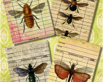 Set of 4 Vintage Bees Moth Butterflys Library Cards Digital Collage Sheet for Journaling, Crafts of Scrapbooking