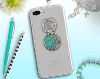 Phone Grip, Phone Ring Stand, Turquoise Wood Ring Stand, Distressed Wood Phone Ring Stand, Birch Wood Ring Stand, Selfie Ring Grip