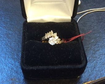 14K Yellow Gold Diamond Engagement Ring with half carat Center Diamond