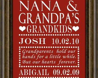 Personalized  Gift - Gifts for Grandparents - Gifts for Grandparents - Grandma - Grandparent Gift - Grandparents -   Print
