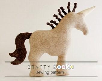 Unicorn sewing pattern, horse sewing pattern cushion, easy sewing pattern, unicorn cushion- instant download pdf pattern