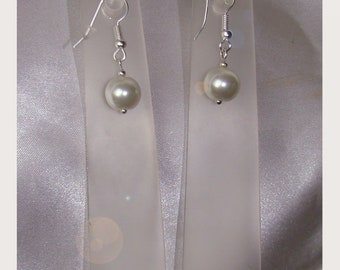 Pearls white wedding party earrings