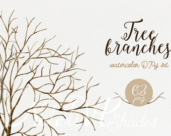 Tree branches. Hand painted  Watercolor DIY set of the branches and trunk. Digital Clipart