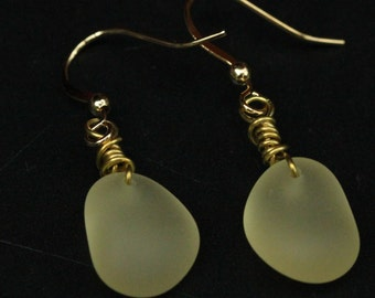 Handmade Yellow Beach Sea Glass Earrings with Gold Plated Hook