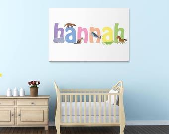 Hannah wall canvas, Hannah wall art, Hannah animal art print, Nursery canvas, Kids bedroom canvas, UK,USA.