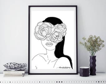 "Print ""I see only Flowers""-peonies"