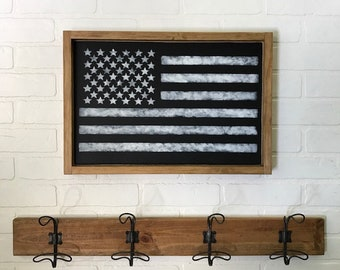 Framed Black and White American Flag Sign
