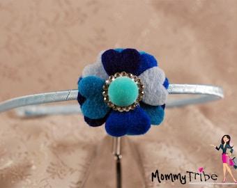 Blue Felt Heart Flower Hard Thin Headband w crystals