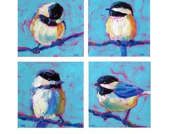 Chickadee Bird Grouping - Bird Art - Paper - Canvas - Wood Block - Giclee Print