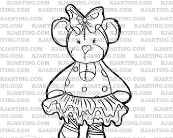 Teddy Bear Ballerina Bow Slippers Plushy Stuffed Toy Digital Stamp (Line_Art Printable_00014 KJArting)