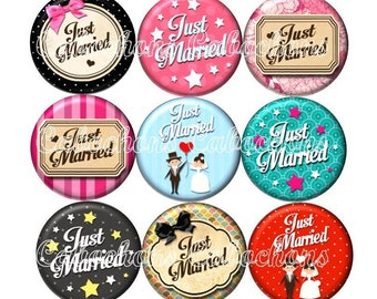Set of 15 cabochons 25mm glass, wedding, just married ZC196