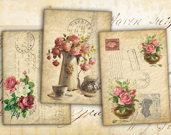 Digital Collage Sheet - Greeting Cards - Digital Backgrounds - Jewelry Holders - Printable Collage - Paper Craft - OLD ANTIQUE CARDS