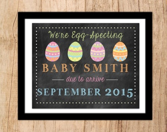 We're Egg-Specting! Spring Pregnancy Announcement Sign with pastel Easter Eggs . JPEG or PDF Digital File .Pregnancy Reveal Sign .Photo Prop