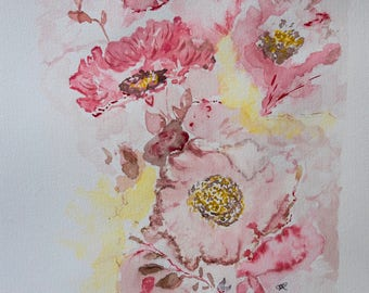 Original Watercolor Painting, Flowers, Picture Handmade, Painting