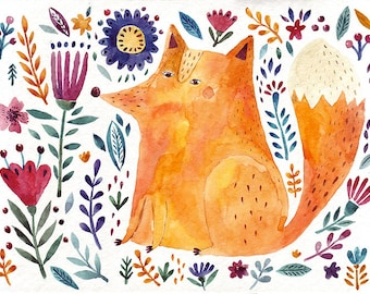 Framed Original Watercolor Illustration with cute Fox and Flowers.  24x32 cm.