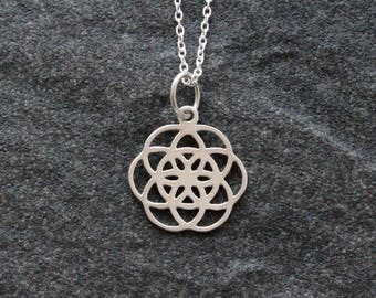 Sterling Silver Seed of Life Necklace, Seed of Life Pendant, Sacred Geometry Pendant, Geometry Pendant, Yoga Jewellery, Spiritual Jewellery