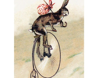 Bunny on a Bike - Rabbit on Bicycle Print