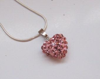 VALENTINE-Swarovski Pink Element Crystal Pendant Heart-Pink Crystal Heart 14mm by 14mm-Stunning Silver Heart Pendant-Swarovski jewellery