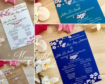 cherry blossom wedding program Japanese pink flowers on branches asian elegance