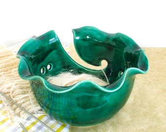 Large Yarn Bowl Emerald Green Ceramic Knitting Bowl Wheel thrown modern twisted rim BlueRoomPottery MADE TO ORDER