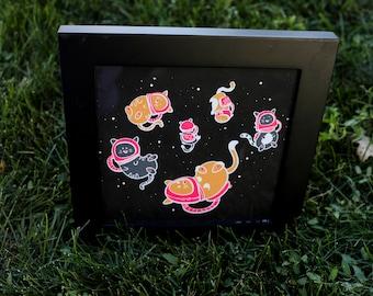 Space Cat Screen Print Poster 8 x 8 LIMITED EDITION // Cat print // Art print // Cat Art // Cheddar Studios