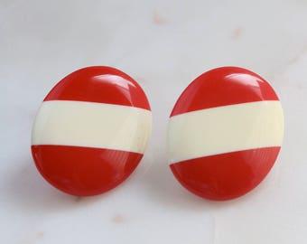 Cream Red Oval Earrings - Striped Earrings - Red Oval Earrings