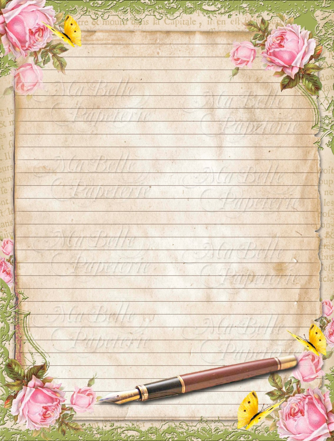 It's just a graphic of Epic Lined Letter Writing Stationery