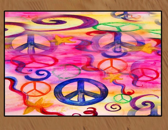 Peace Sign Area Rug Over 6 Colorful Designs To Choose From