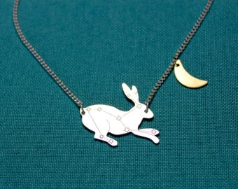Lepus - sterling silver hare necklace with star constellation and gold moon