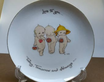 """Kewpie Doll Collectors Plate 1973 reads: """"Love to you... Today, tomorrow and always"""""""