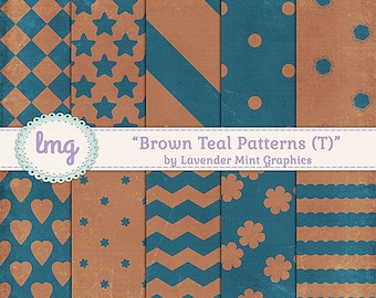 Teal And Brown Digital Scrapbook Paper - Textured Backgrounds Patterns - Dots, Stripes, Floral, Chevron - Instant Download, Commercial Use