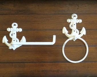 Toilet Paper and Hand Towel Holder Set / Antique White or Pick Color / Nautical Cottage Beach Decor / Bathroom Accessories / Cast Iron