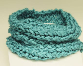 Teal Cowl-Teal Circle Scarf-Wide Infinity Scarf-Round Scarf-Chunky Scarf-Textured Scarf-Knitted Scarf-Knitted Cowl-Chunky Cowl-Thick Cowl