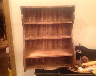 "Wall Shelf Country Primitive handmade Pine DisplayShelf  25""x 32""tall"
