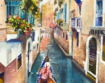 Venice watercolor painting, Italian art, European art, gondola painting