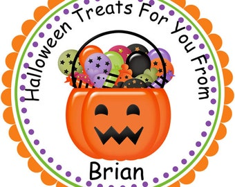 Halloween Pumpkin with Candy- Personalized Stickers, Party Favor Tags, Thank You Tags, Gift Tags