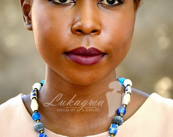 Blue African jewelry,Blue Beaded African necklace,Blue Simple Ethnic necklace