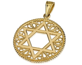 14k Gold Round Floral Star of David Pendant