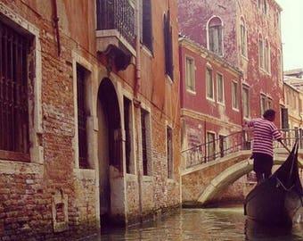 4x4 Print of Gondolier in Venice, Italy