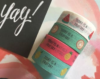 Washi Tape - Today Is A Fruit Day!  Lemon, Orange, Pineapple, Watermelon