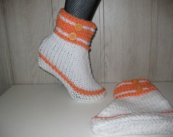 two-tone woman wool slippers