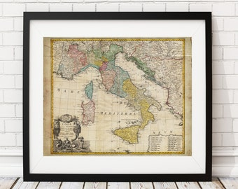 Italy Map Print, Vintage Map Art, Antique Map, Wall Art, History Gift, Italia Map, Italian Gift, Italy Gift, Italy Print, Old Maps, Map Art
